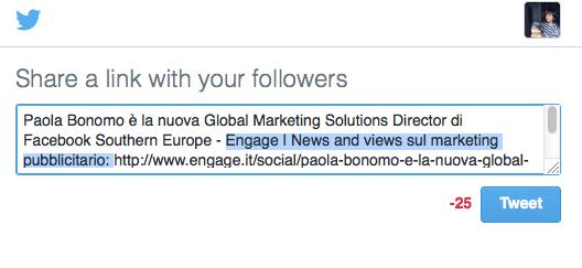 la lunghezza di un tweet è 140 caratteri, ricordalo quando attivi la condivisione con i bottoni social: nella foto engage non rispetta i limiti